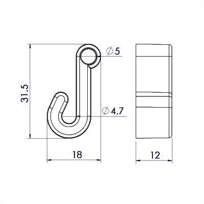聚鴻-塑膠掛繩鉤-a26a