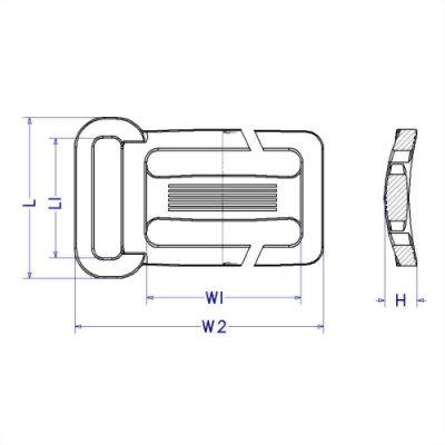 聚鴻-單耳塑膠開口日字扣-b8a