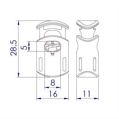 聚鴻-塑膠單孔圓桶束繩扣-C12A