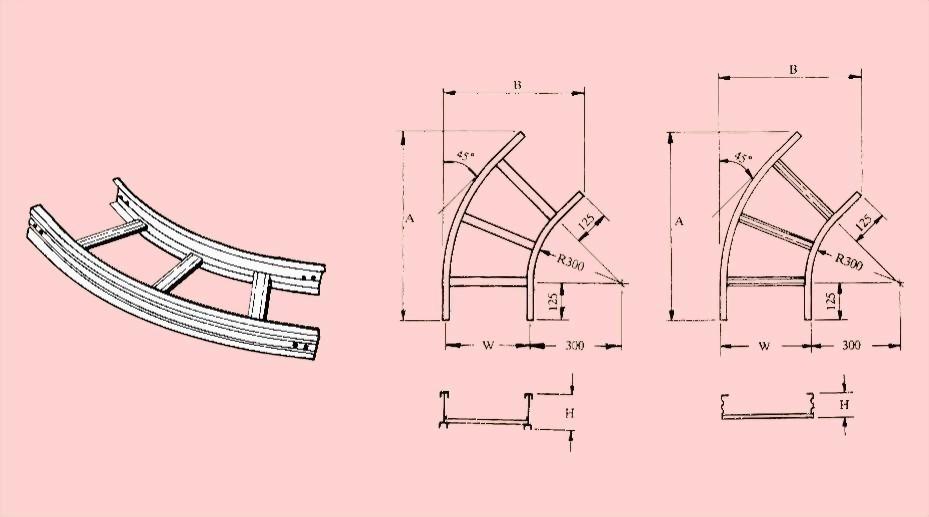 水平45度彎接頭 - 電纜線架- 電纜線架、電管管件、電管、電線導管、接頭、電管配件、穿線盒、電管管件、電管