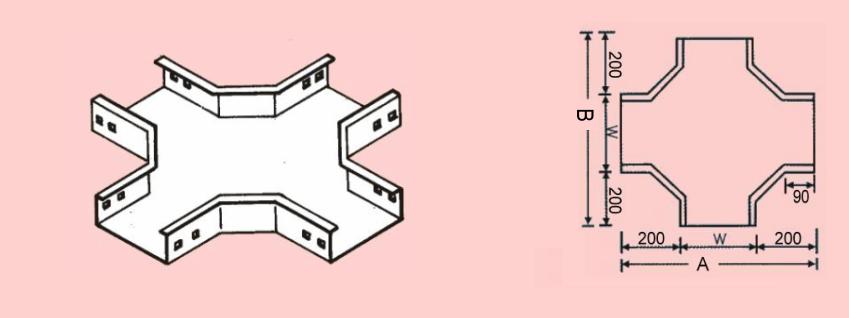 水平X型接頭 - 電纜線槽、電管、電線導管、接頭、電管配件、穿線盒、電管管件、電管