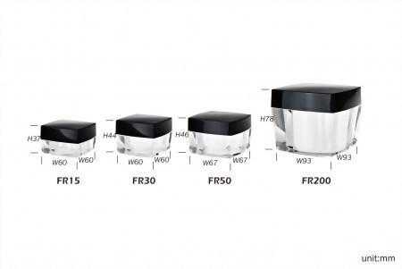 Square Cosmetic Bottles + Square Cream Jar