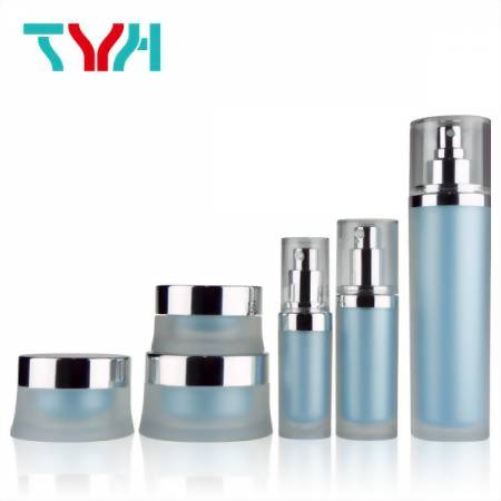 Profession Round Cosmetic Jars with Spatular and Plastic Container for Liquid