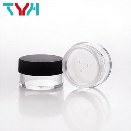 8ml SAN Round Loose Powder Jar with Fillet Matte Black Cap | Ready Stock