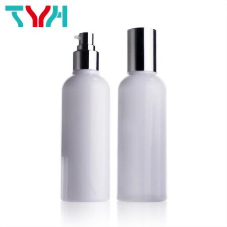 200ML PETG Round Boston Shoulder Plastic Single-wall White Bottle with Shiny Silver Cap and Pump