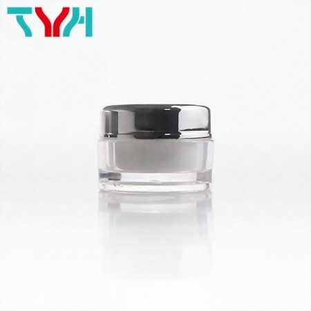 5ml PMMA Round Cream Jar in Double Wall with Shiny Silver Cap | Ready Stock