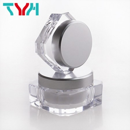 PS Diamond Shape Octagon Cream Jar in Double Wall with Matte Silver Cap | Ready Stock