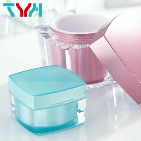 Square Shaped Arched Jar, a TYH Double Layer Jar for Personal Care Cream.