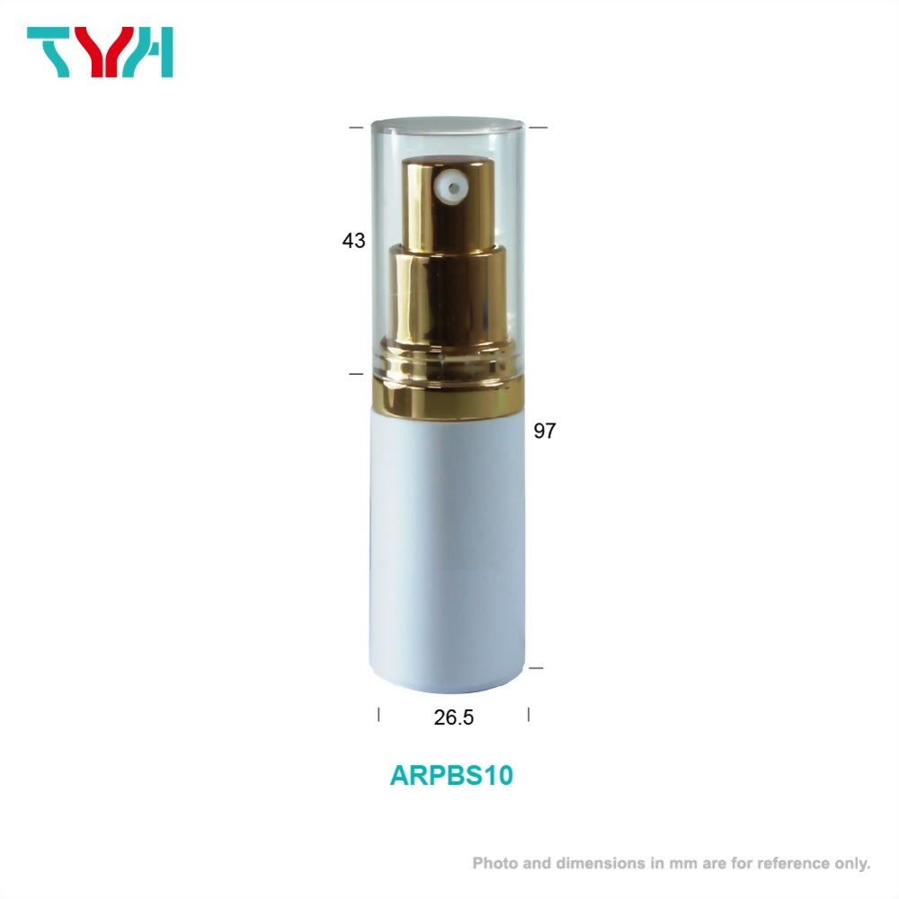 10ml PP Cylindrical Airless Bottle with Aluminum Pump/Sheath and PMMA Acrylic Cap