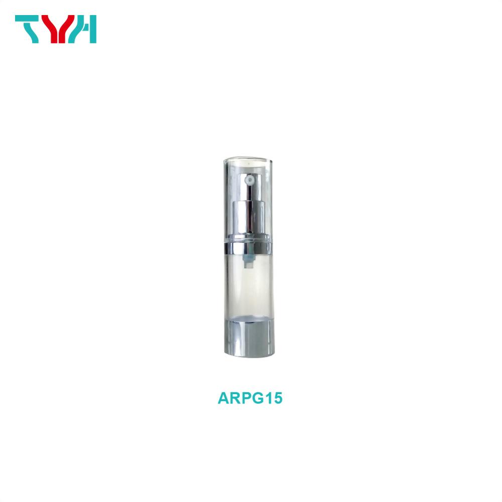 15ml PETG Cylindrical Airless Bottle with Aluminum Pump/Sheath/Base and PMMA Acrylic Cap