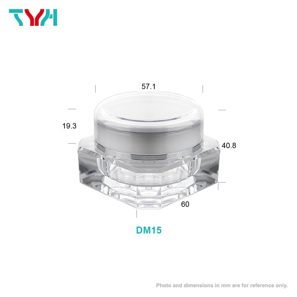 15ml PMMA Diamond Shape Octagon Cream Jar in Double Wall