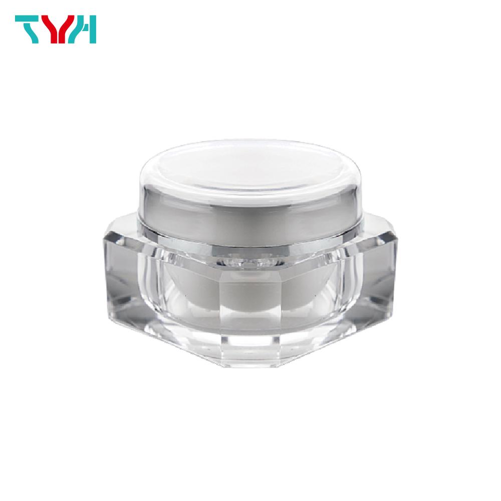 50ml PMMA Diamond Shape Octagon Cream Jar in Double Wall