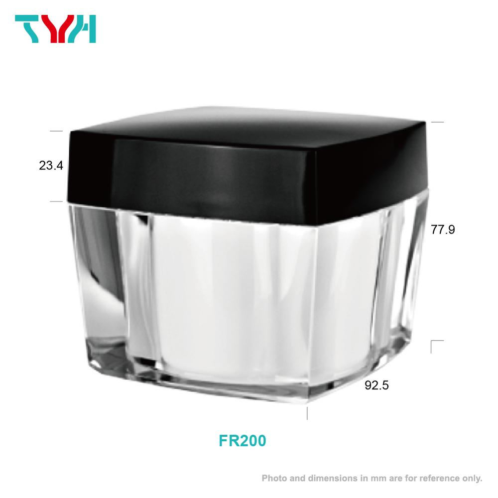 200ml PMMA Square Arc Cream Jar in Double Wall