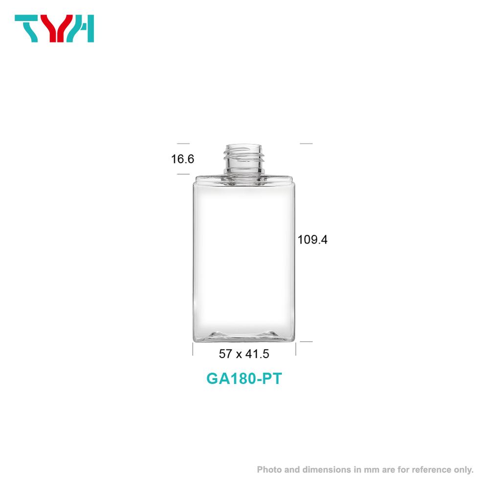 180ml 24/410 PETG Rectangle Cosmetic Bottle in Single Wall