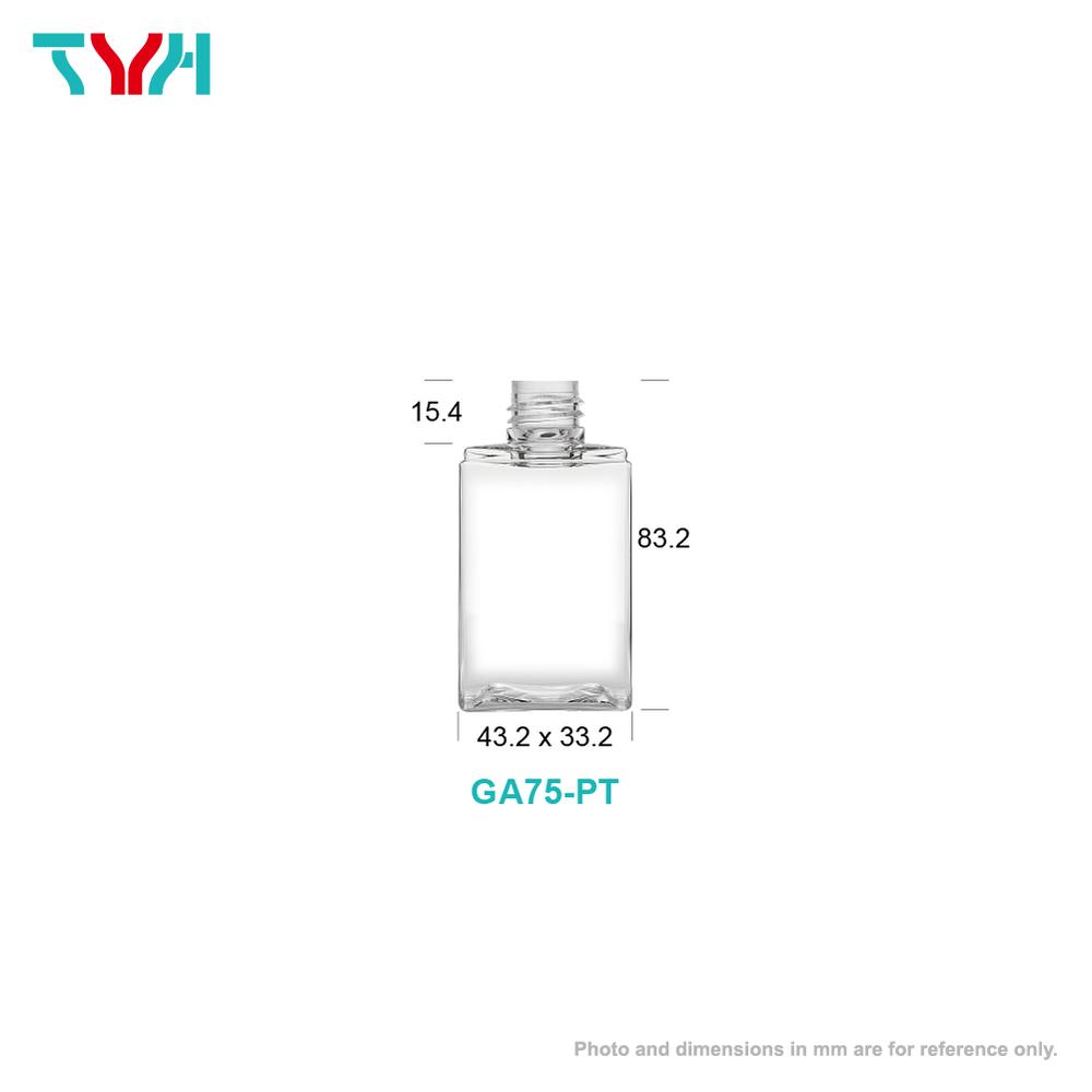 75ml 20/410 PETG Rectangle Cosmetic Bottle in Single Wall