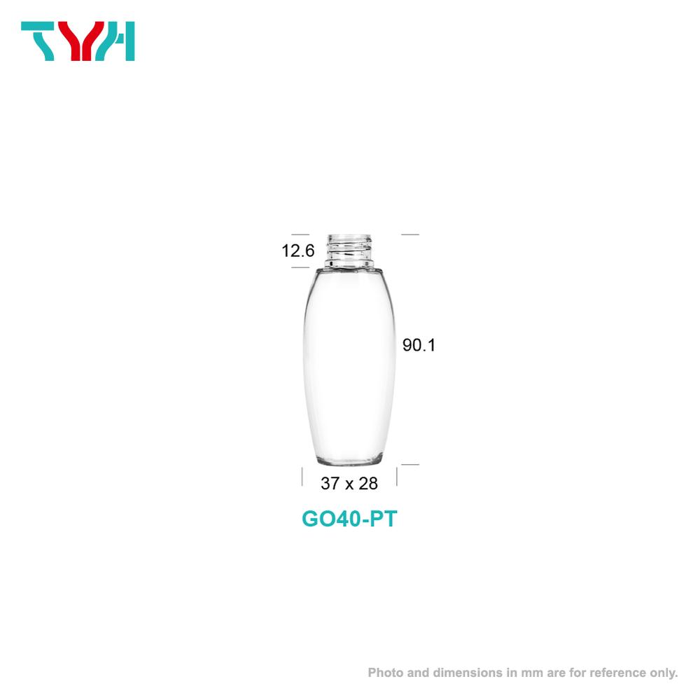 40ml 20/410 PETG Barrel Shape Oval Cosmetic Bottle in Single Wall