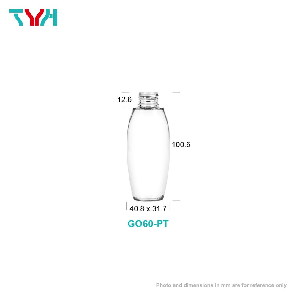 60ml 20/410 PETG Barrel Shape Oval Cosmetic Bottle in Single Wall