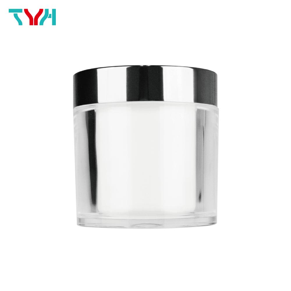 100ml PMMA Bucket Shape Round Cream Jar in Double Wall with Aluminum Cap