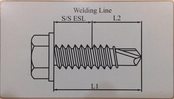Bi-metal Screws IND HEX Washer Head CSD Thread with Drill Point No3