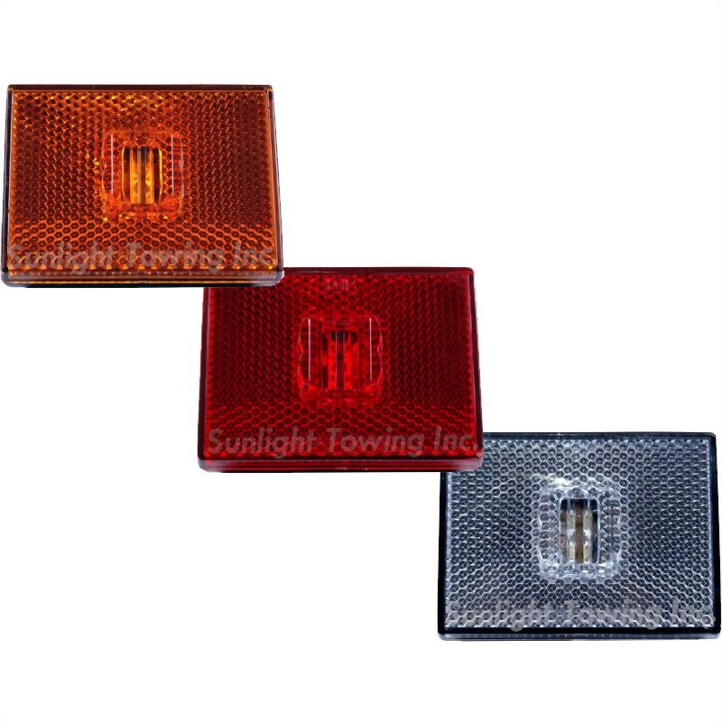 LED Rectangular Stud-Mount Marker Light W/Reflex Lens - 4 Diodes, PC Rated