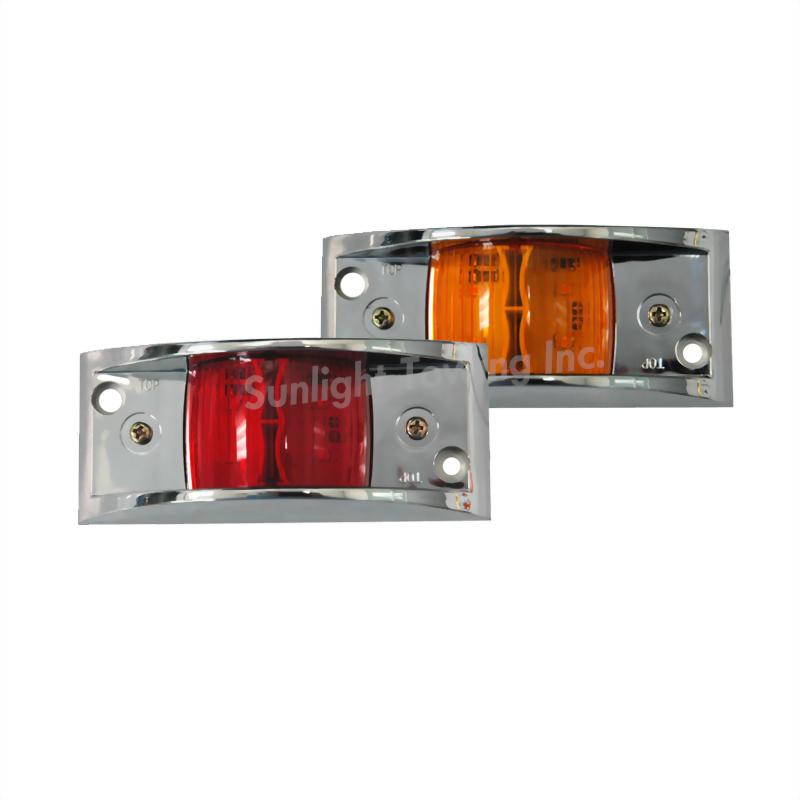 LED Rectangular Chrome Clearance Marker Light - 4 Diodes