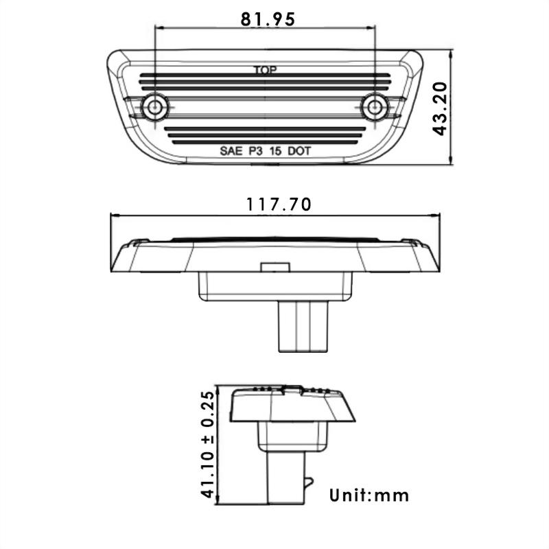 Peterbilt & Kenworth LED Rectangular Cab Light