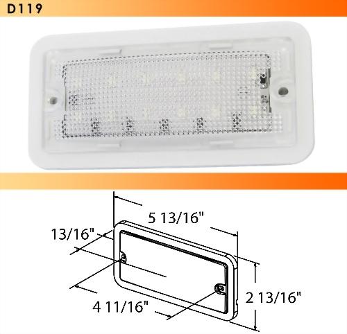 LED Rectangular Interior Light - 12 Diode