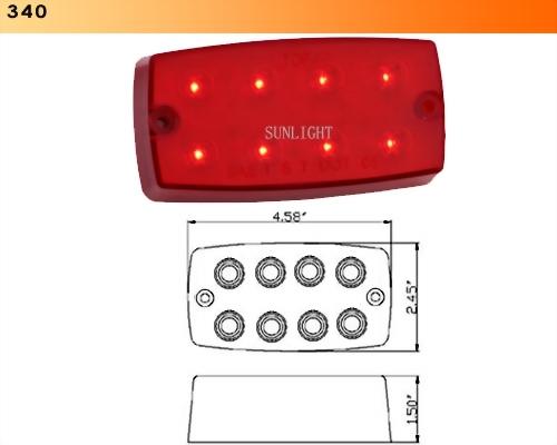 LED Rectangular Sealed S/T/T Light - 8 Diodes