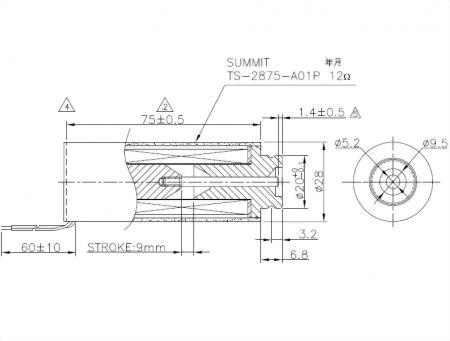 pullpush action tubular Solenoid,12 VDC 9 mm stroke.