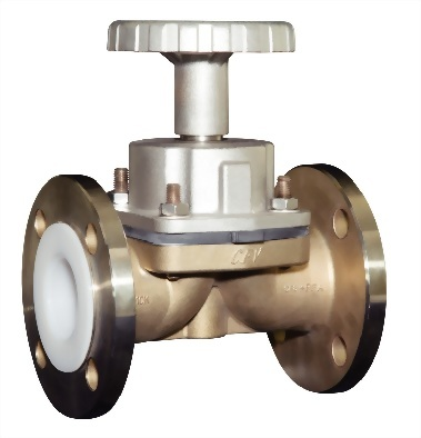 PFA lined Weir-type diaphragm valves