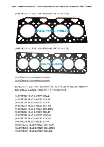 Head Gasket Manufacturers-(2)(3) PERKINS 3681E037 1004.4 HEAD GASKET (Y2012-KS)