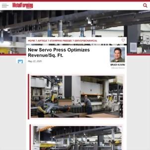 MetalForming Magazine - New Servo Press Optimizes Revenue/Sq. Ft.