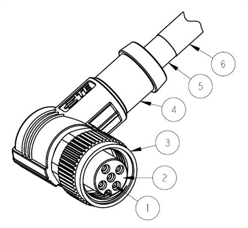 M12母接點2~5PIN 90°帶線 (RPC-M12-FR-2~5CON-PVC/PUR-SH) (T41614X00XX-00X)
