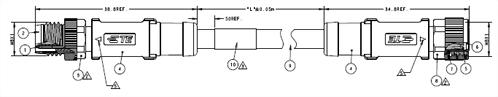 M8母轉公3~4PIN帶線(RPC-M8-3&4MS-(M)-M8-3&4FS-PVC/PUR)(T40521X300X-00X)