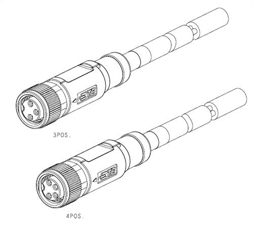 M8母接點3~4PIN帶線(RPC-M8-FS-3&4CON-PVC/PUR) (T40513X000X-00X)